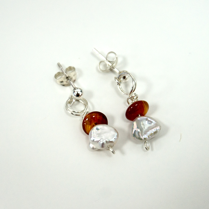 Silver Pearl & Carnelian Wrap Earrings