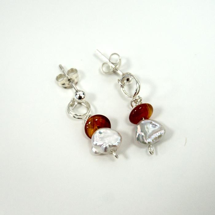 Silver Pearl & Carnelian Wrap Earrings
