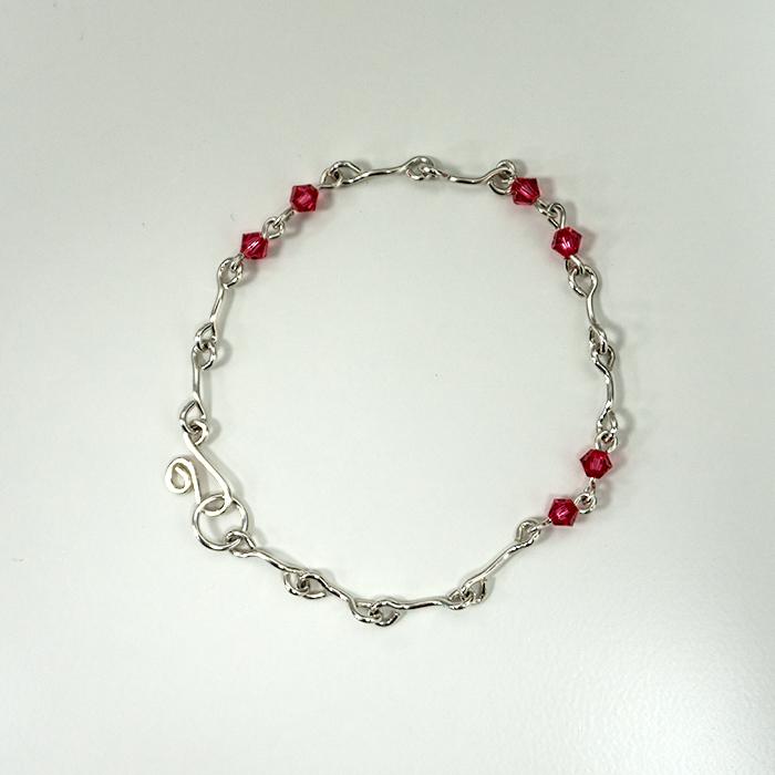 Silver & Swarovski Crystal Straight Link Bracelet