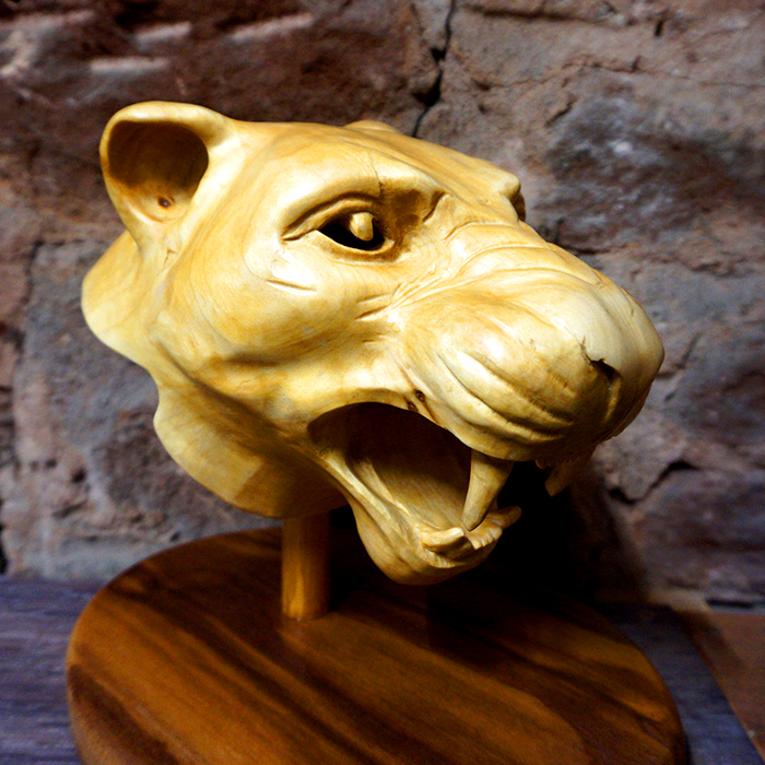 Hand-Carved Lioness Head