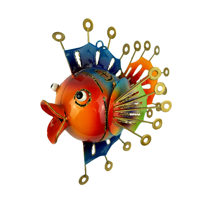 Painted Metal Fish T-Light