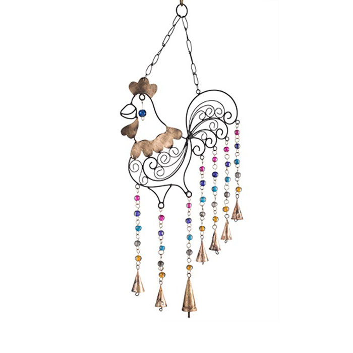 Rooster Iron Wind Chime With Mixed Glass Beads