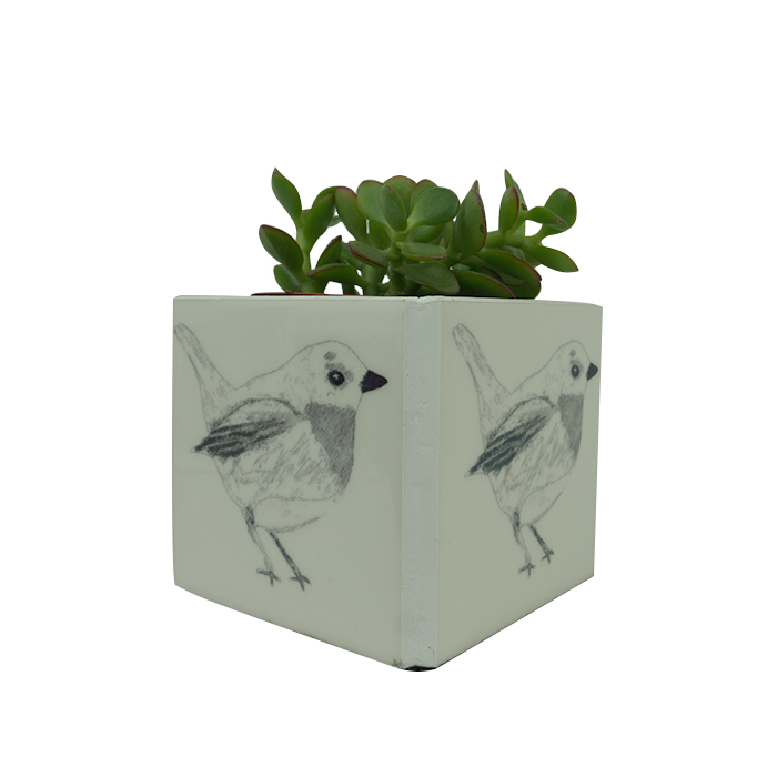 Black & White Robin Plant Pot Holder