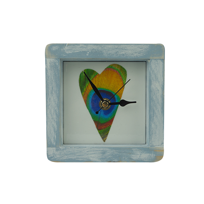 Peacock Heart Square Clock