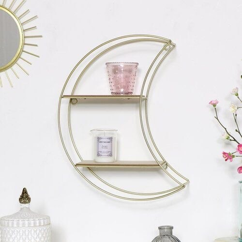 Stunning Gold Crescent Moon Shelf
