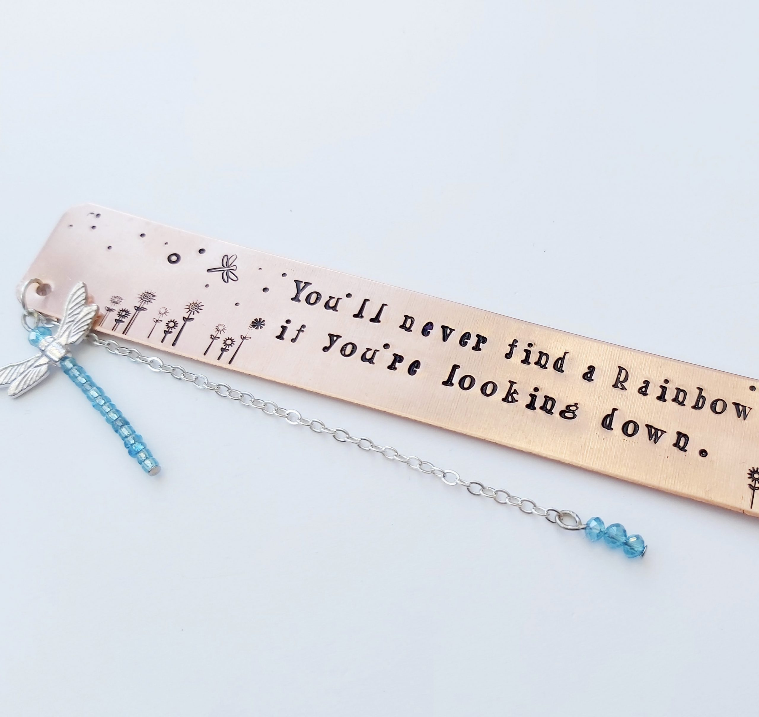 Rose Gold Bookmark With Rainbow Wording