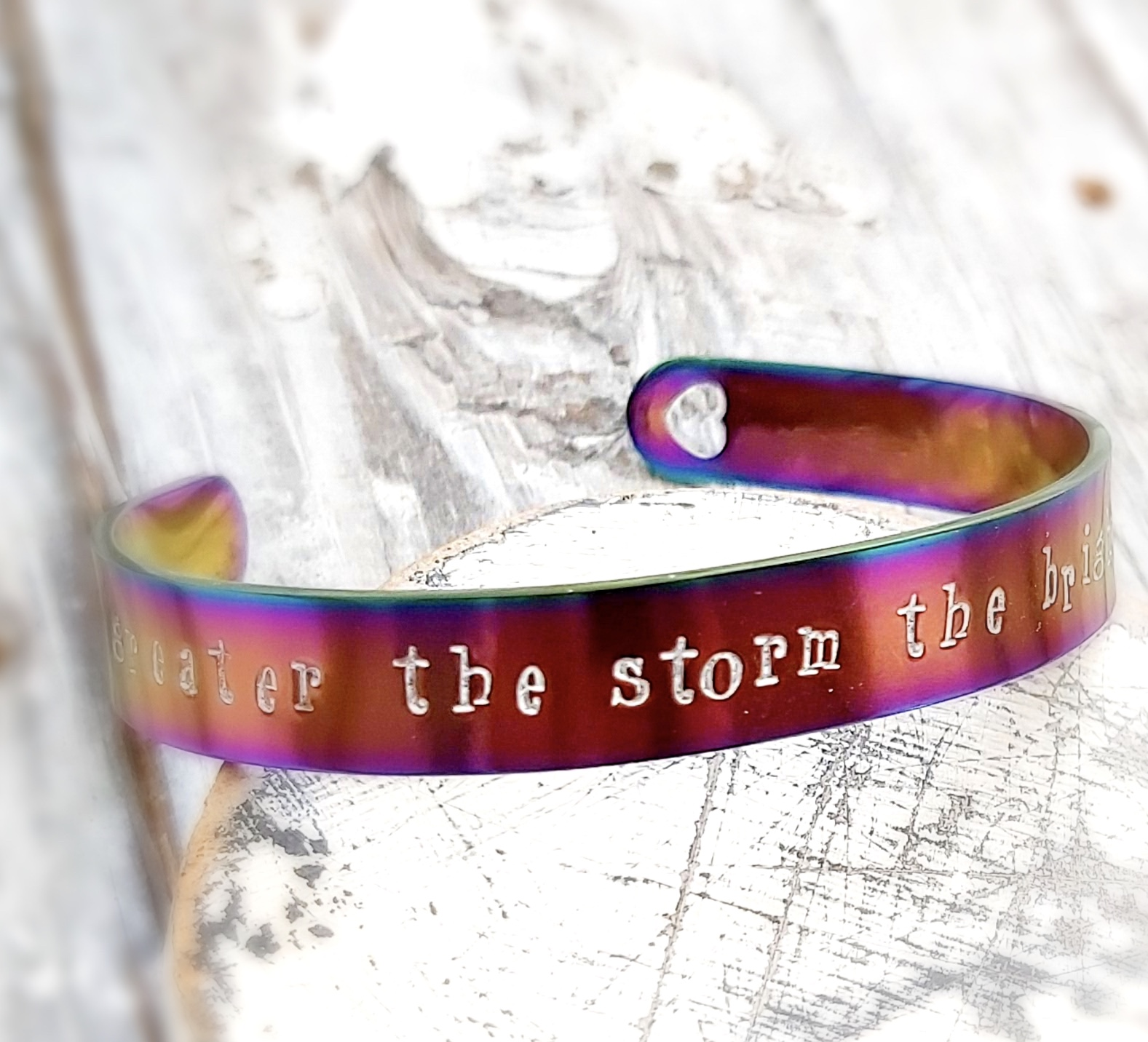 Rainbow Cuff Bangle 'The Greater The Storm'