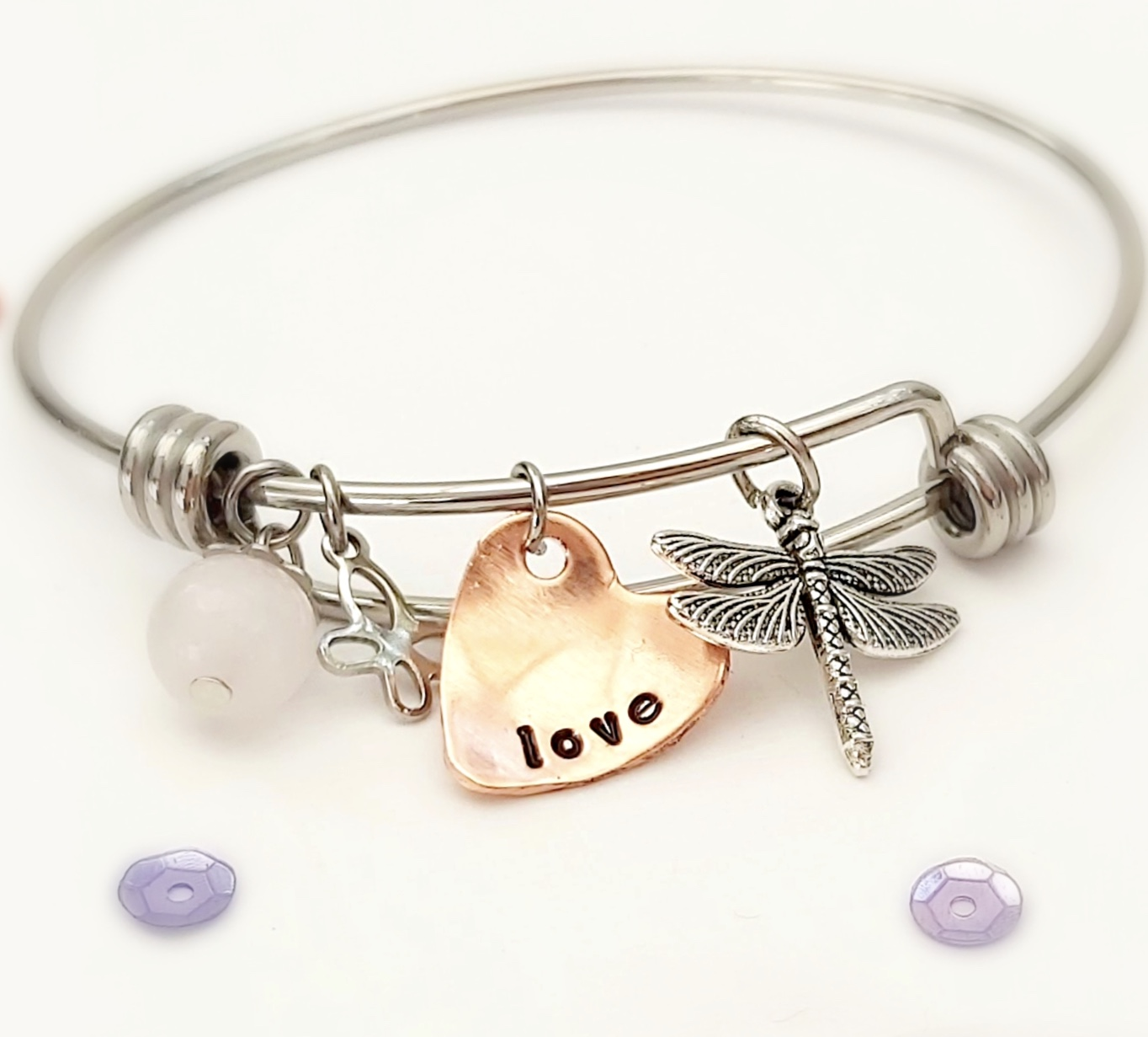 Bangle Bracelet With 'Love' Wording & Charms