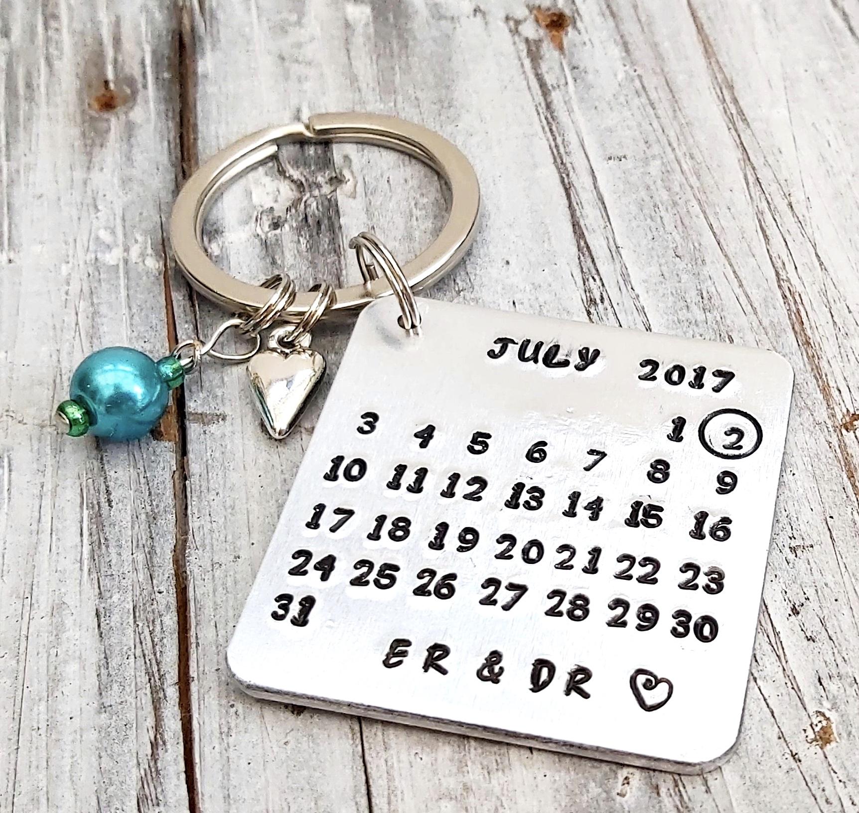 Personalised Calender Date Keyring