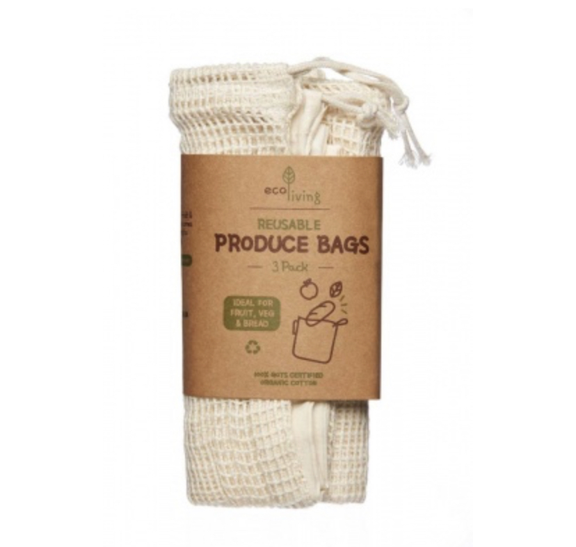 Organic Produce Bags & Bread Bag – 3 Pack