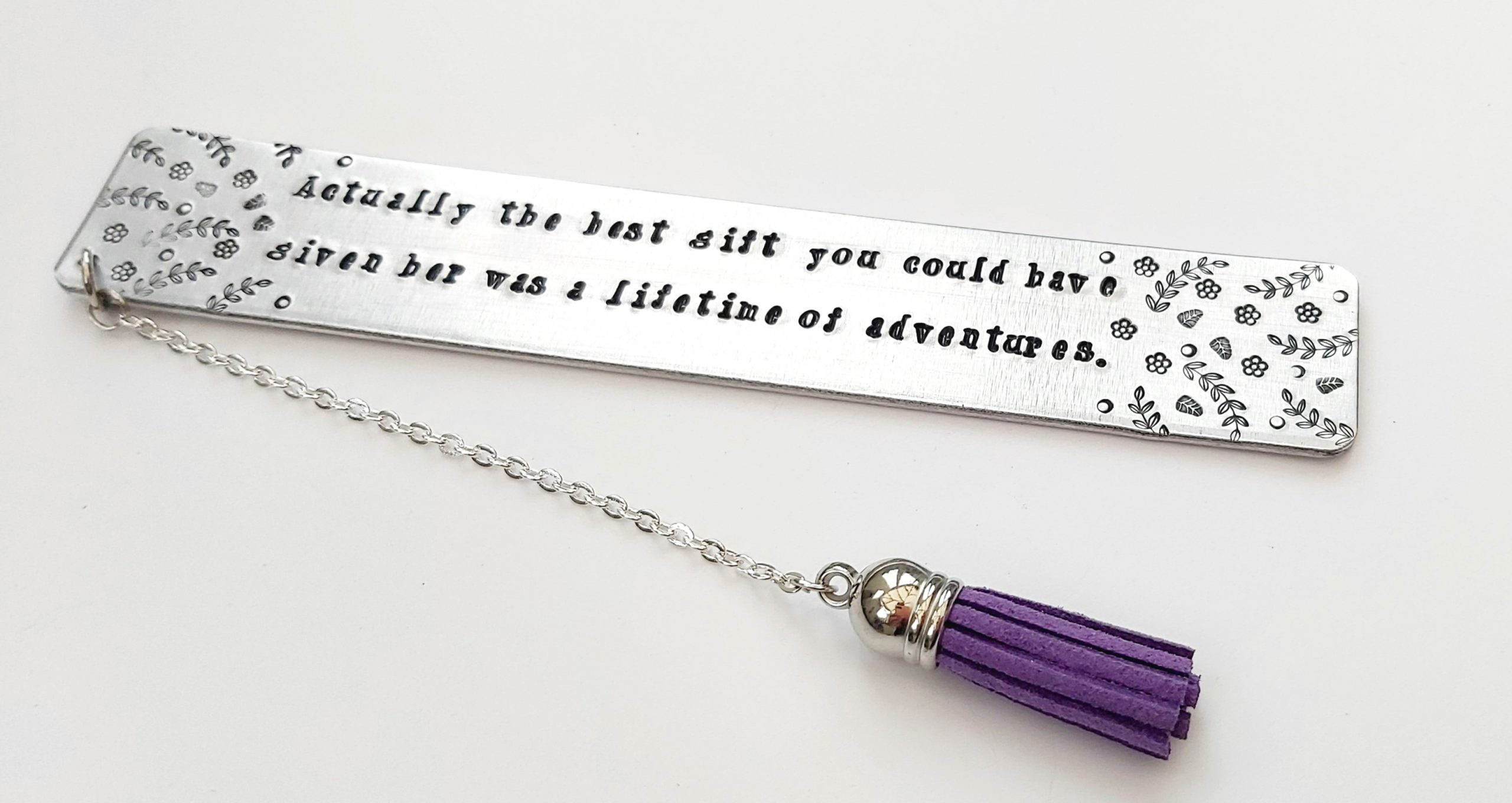 Bookmark With Alice In Wonderland Wording Handcrafted & Metal Stamped