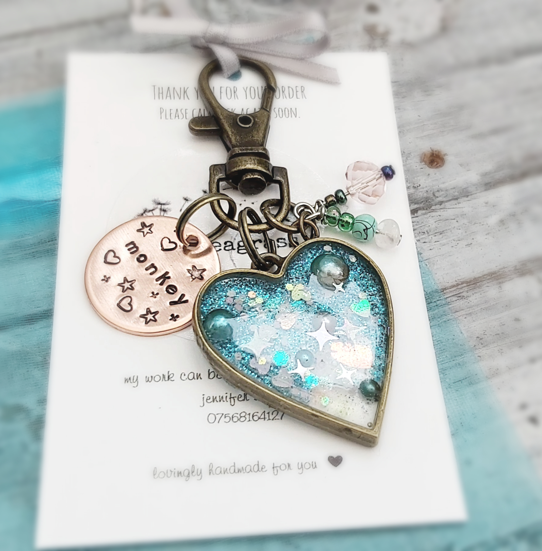 Inspirational Heart And Star Shaped Resin Key Rings