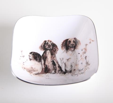 Meg Hawkins Collection – Spaniel/Kingfisher Square Dish