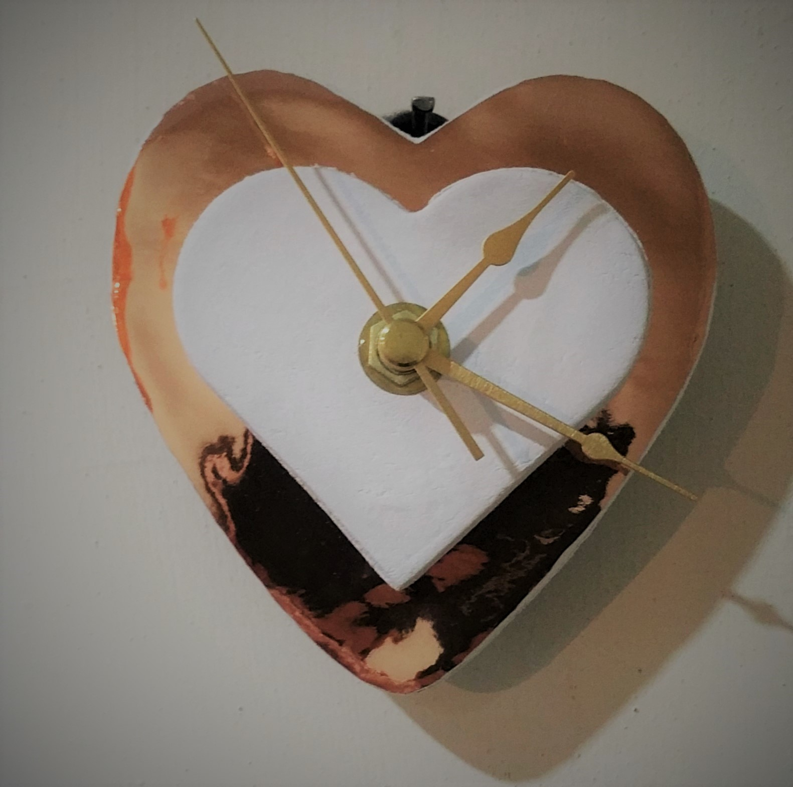 Copper And White Double Heart Clock