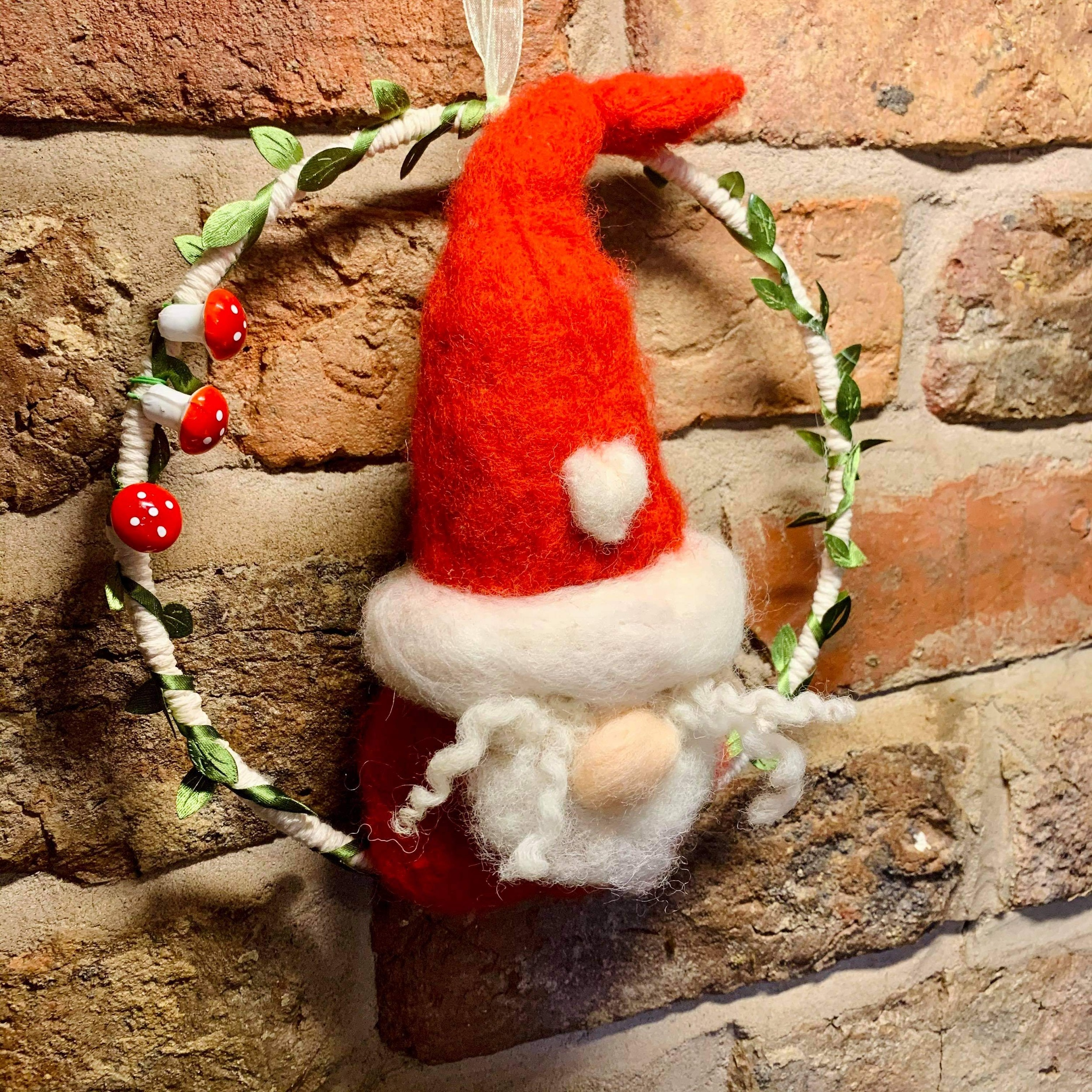 Hand Crafted Wool Needle Felted Gnome/Elf On Ring (large)