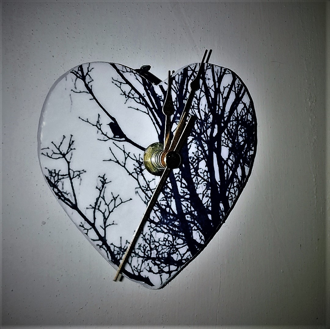 Bird In Tree Heart Clock