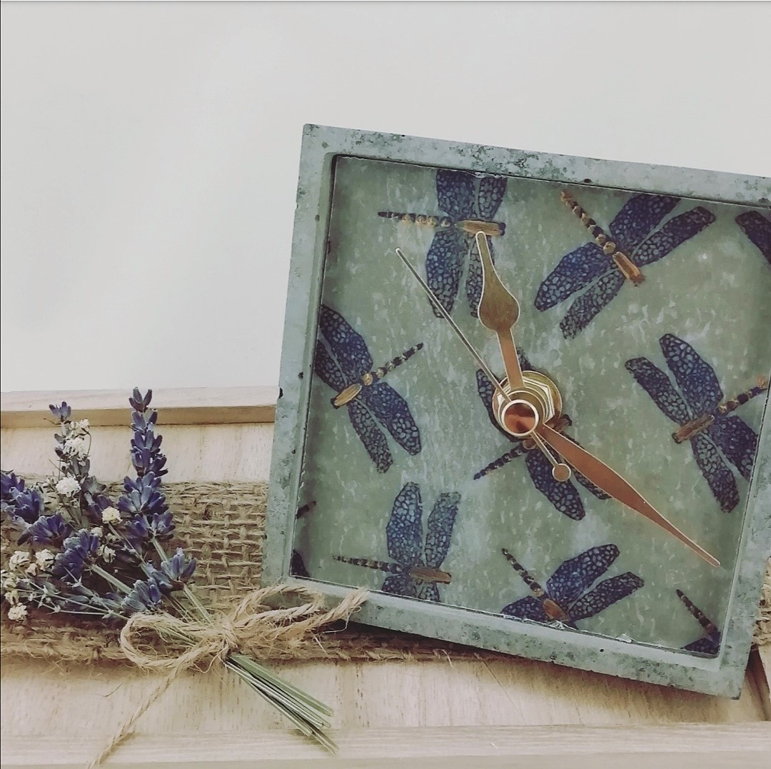 Dragonfly Square Concrete Clock