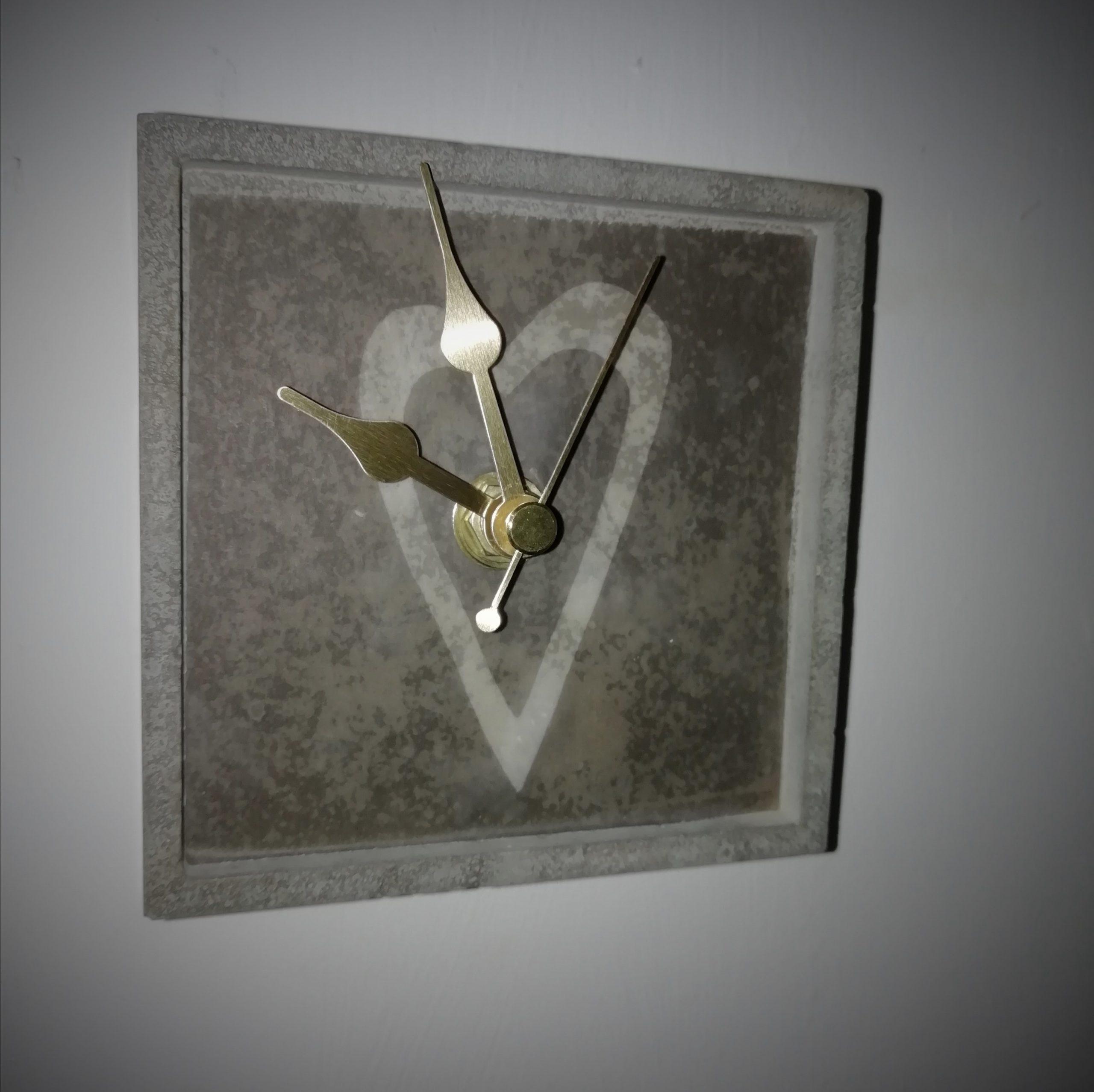 Grey Heart Square Concrete Clock