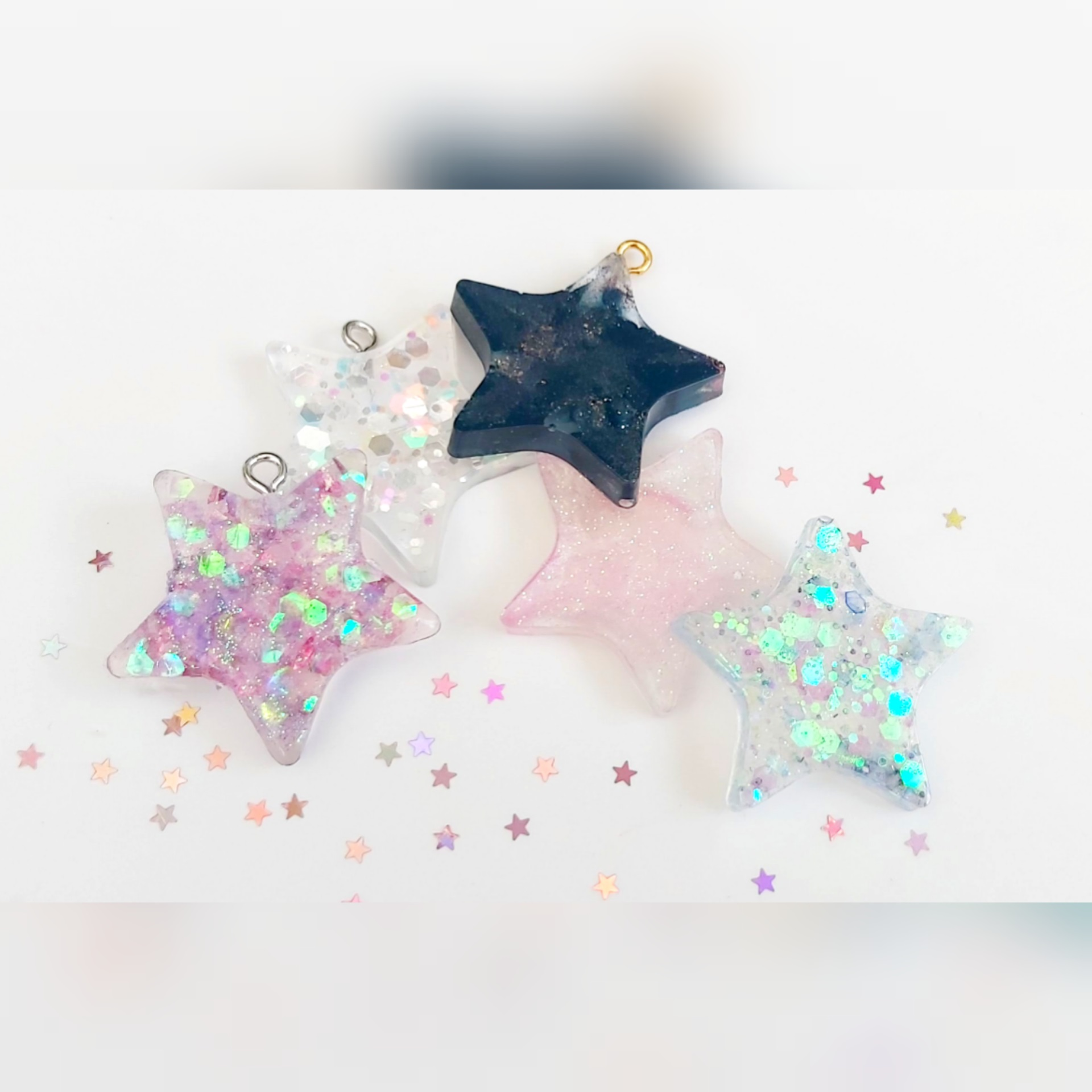 Mini Star Shaped Resin Hangers (Set Of 5)
