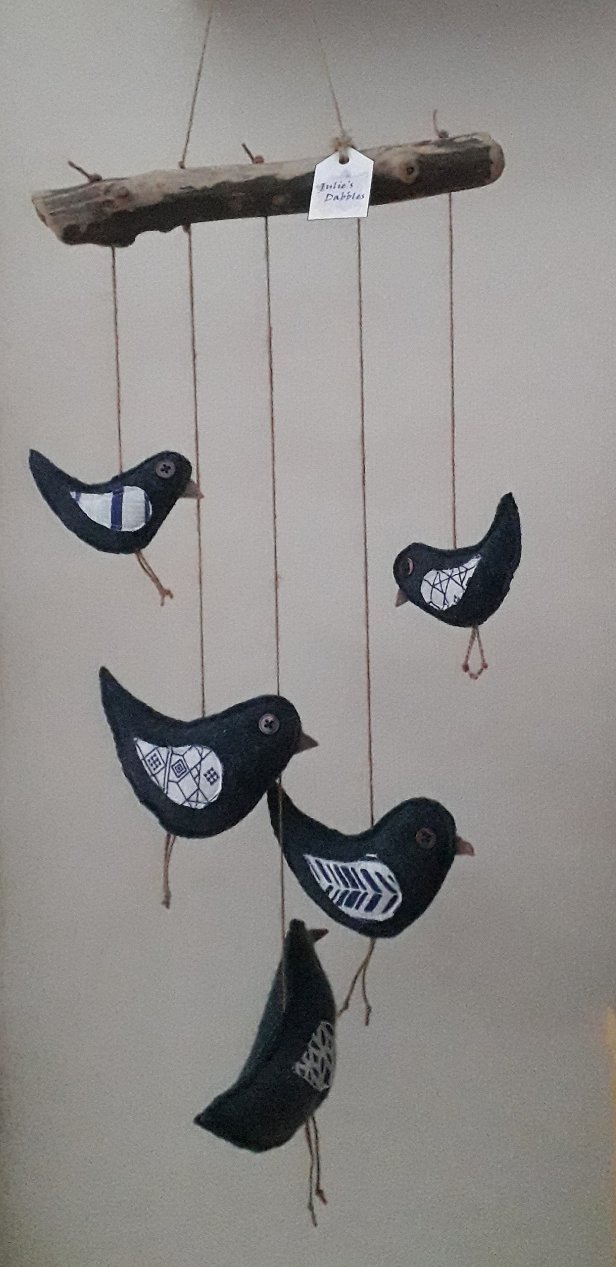 Five Woollen Birds Mobile