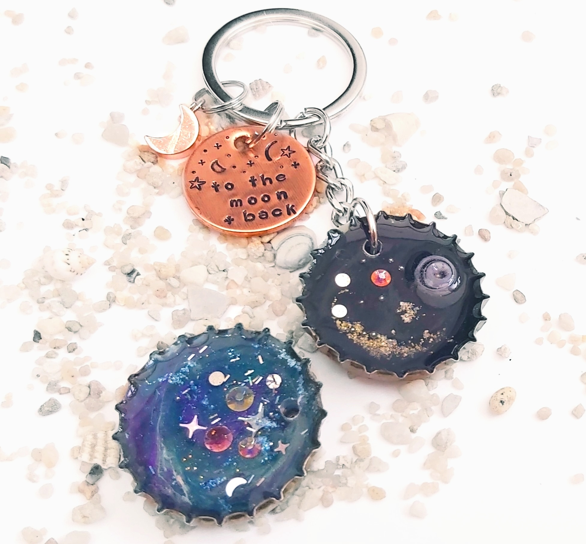 To The Moon And Back Galaxy Bottle Top Keyrings