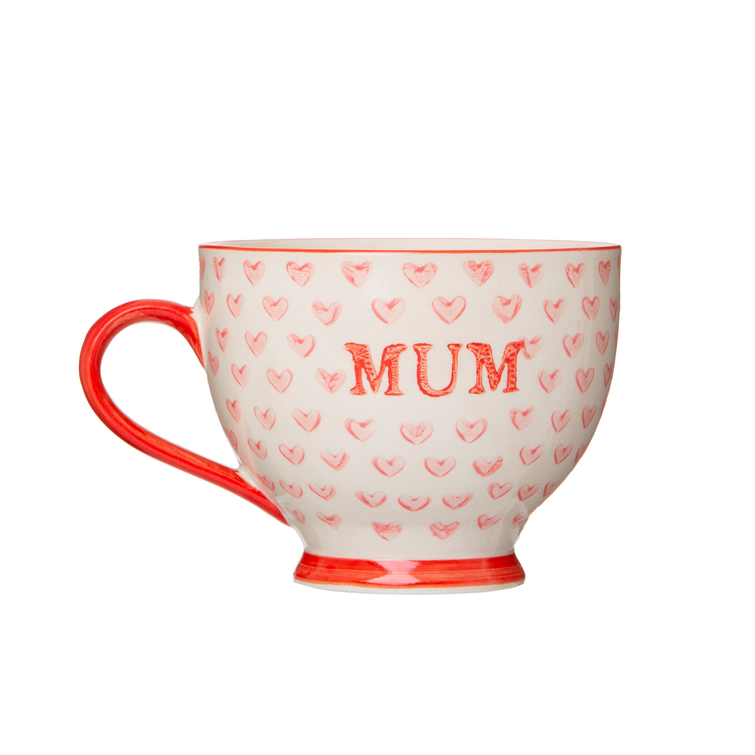 Bohemian Red Hearts 'Mum' Mug