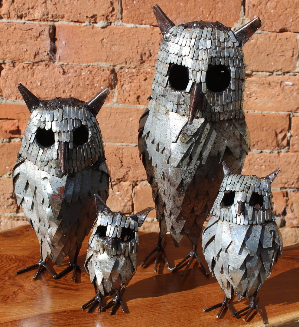 Rustic Recycled Metal Owl