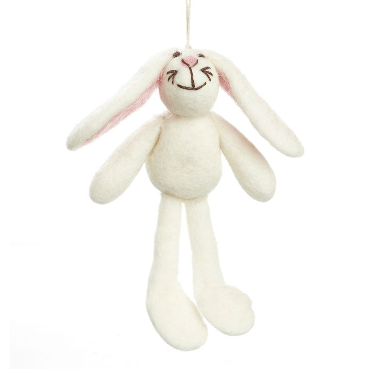 Handmade Big-Eared Bunny Hanging Easter Needle Felt Decoration