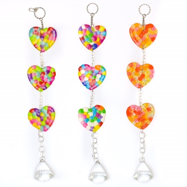 Suncatcher Triple Colourful Heart Mobile With Large Crystal Glass Prism Drop