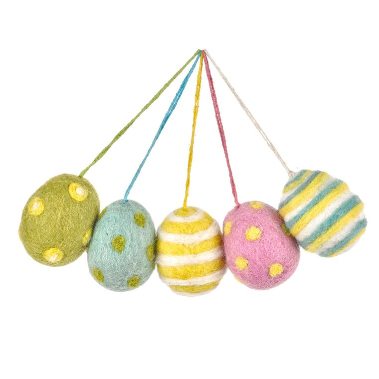Handmade Needle Felt Easter Eggs (Bag Of 5) Hanging Easter Decoration