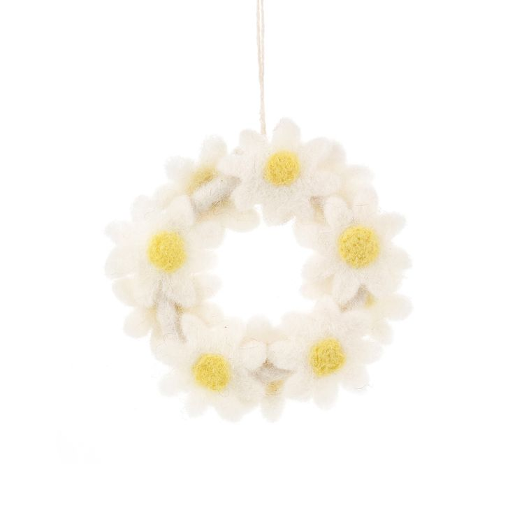 Hanging Daisy Felt Mini Floral Wreath