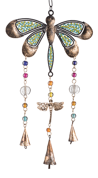 Dragonfly Iron Windchime With Mixed Glass Beads