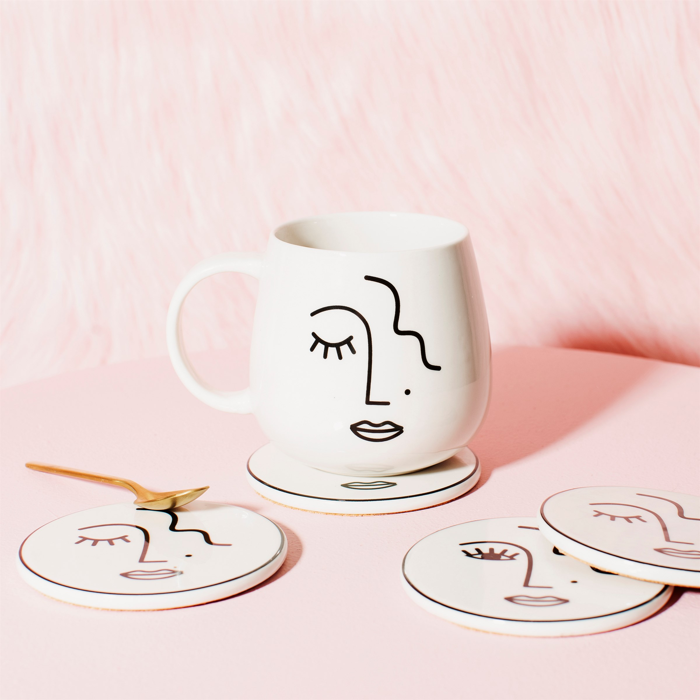 Abstract Face Porcelain Mug