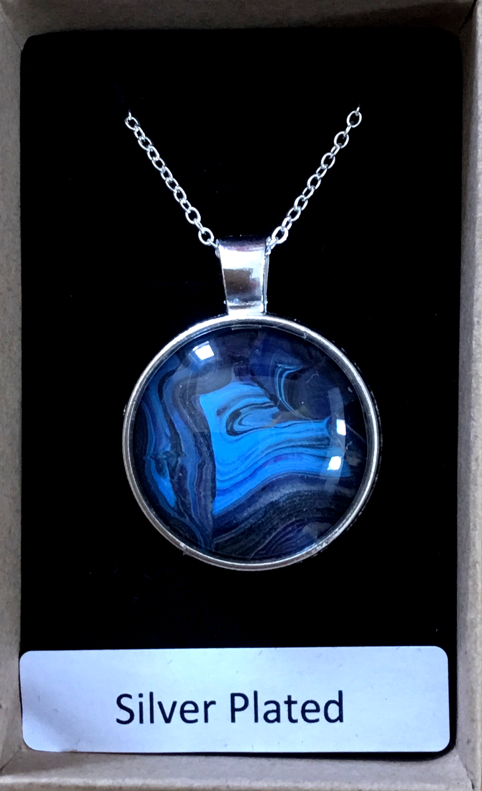 Silver Plated Pendant – Blue