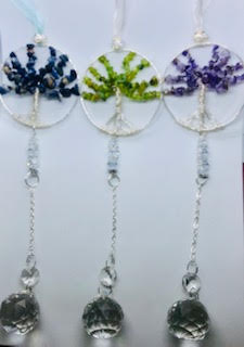Suncatcher Gemstone Tree Of Life With Crystal Ball Prism Pendant