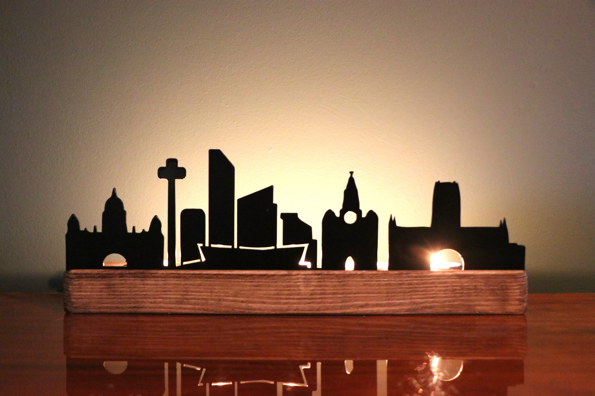 Candle Silhouette: Liverpool Skyline