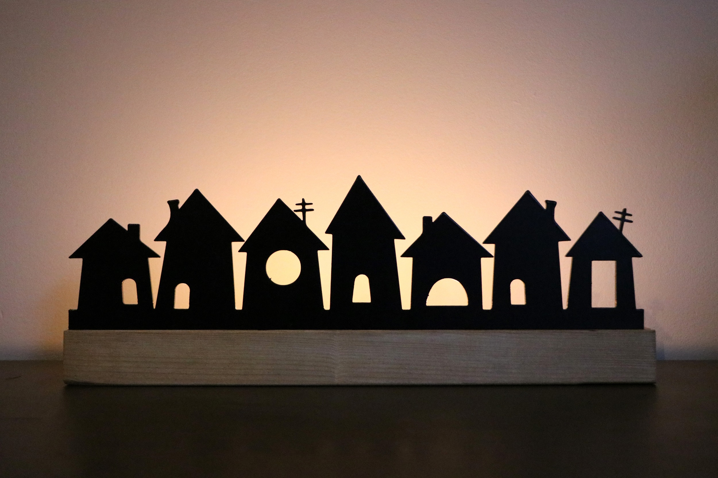Candle Silhouette: Wonky Houses