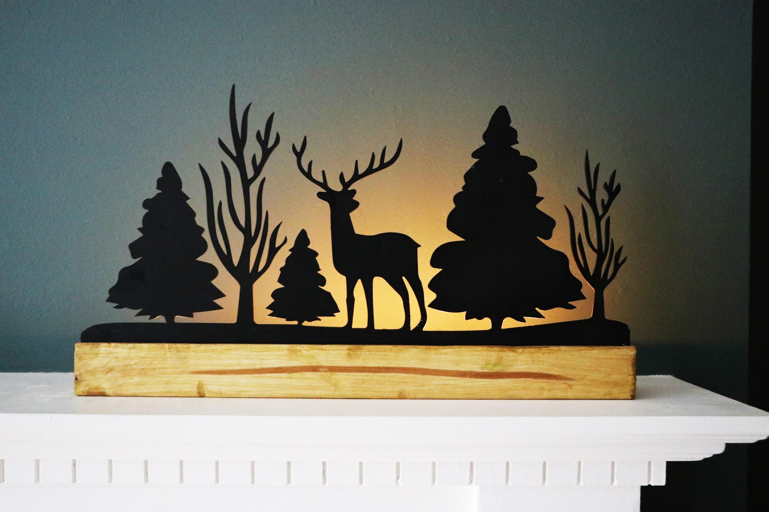 Candle Silhouette: Winter Scene